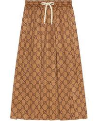Gucci Gg Supreme プリーツジャージースカート - ブラウン
