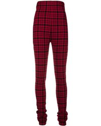 Philosophy Di Lorenzo Serafini Checked High-waist Trousers - Rood