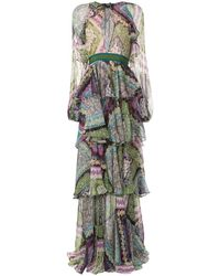 DSquared² Floral-print Layered Maxi Dress - Purple