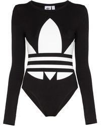 adidas ロゴ ボディスーツ - ブラック