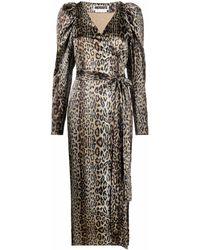 ROTATE BIRGER CHRISTENSEN Bridget Leopard-print Wrap Dress - Brown