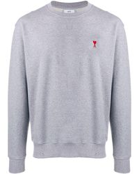 AMI - Chest Logo Patch Sweater - Lyst