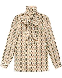 Gucci - Silk Shirt With Web GG Print - Lyst