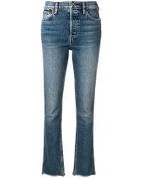 RE/DONE - Frayed Hem Slim-fit Jeans - Lyst