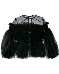 Molly Goddard Ruffled Tulle Blouse - Black
