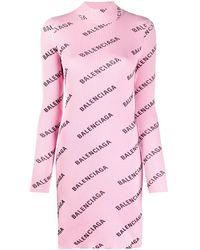 Balenciaga Трикотажное Платье С Логотипом - Розовый