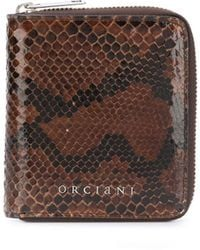 Orciani Python Effect Leather Wallet - Brown