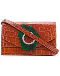 Ganni Crocodile-effect shoulder bag - Multicolore