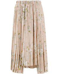 N°21 Asymmetric Floral Pleated Skirt - ピンク