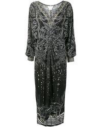 Camilla Midnight Pearl Twist-waist Maxi Dress - Black