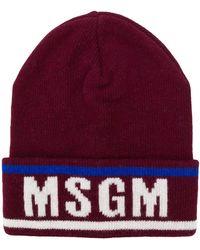 MSGM ロゴ ビーニー - レッド