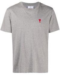 AMI Футболка С Короткими Рукавами И Вышитым Логотипом - Серый