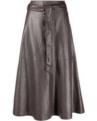 Luisa Cerano Leather-effect Tie-waist Skirt - Gray