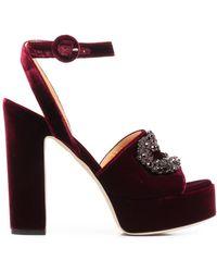 Giannico Daphne Velvet Sandals - Red