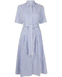 P.A.R.O.S.H. Полосатое Платье-рубашка - Синий