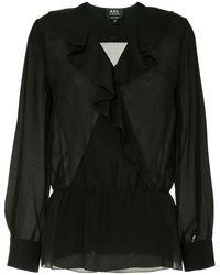 A.P.C. Edna Sheer Ruffle Blouse - Black