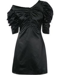 Isa Arfen Einschultriges Kleid mit Raffungen - Schwarz