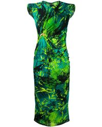 Versace Платье Без Рукавов С Принтом И Сборками - Зеленый