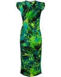 Versace プリント ノースリーブ ドレス - グリーン