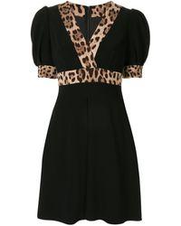Dolce & Gabbana Robe évasée à imprimé léopard - Noir