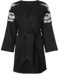 Natori Embroidered Belted Jacket - Black