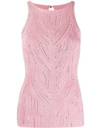 Ermanno Scervino Studded Detail Chunky Knit Top - Pink