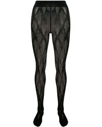 Versace Barocco Pattern Tights - Black