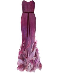 Marchesa notte Strapless Tulle And Organza Gown - Purple