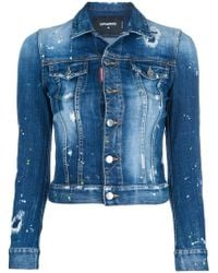 DSquared² - Distressed Cropped Denim Jacket - Lyst
