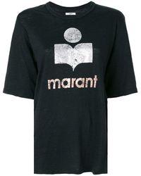 Étoile Isabel Marant 'Kuta' Leinen-T-Shirt - Schwarz