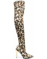 Moschino Leopard Print Thigh High Boots - Multicolour