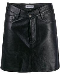 Balenciaga Vネック レザースカート - ブラック