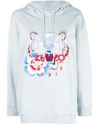 KENZO Embroidered tiger logo hoodie - Bleu