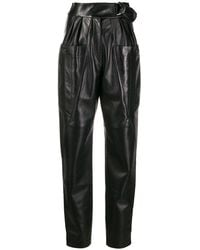 Isabel Marant High-waisted Leather Trousers - Black