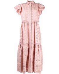 P.A.R.O.S.H. - Ярусное Платье-рубашка С Английской Вышивкой - Lyst