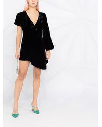 Parlor Asymmetric Velvet Cocktail Dress - Black