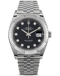 Rolex 2020s ungetragene Oyster Perpetual Datejust Armbanduhr, 41mm - Schwarz