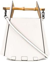 Loewe Bamboo-handle Bucket Bag - White