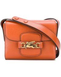 Etro Mini sac à bandoulière à plaque logo - Orange