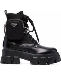 Prada Monolith レースアップ ブーツ - ブラック