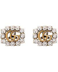 Gucci Позолоченные Серьги С Кристаллами И Логотипом GG - Металлик