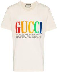 f6368858f0d Gucci - Rainbow Cities Print Cotton T Shirt - Lyst