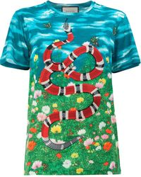 Gucci Sky And Garden Print T-shirt - Blue