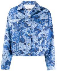 MSGM Джинсовая Куртка С Цветочным Принтом - Синий