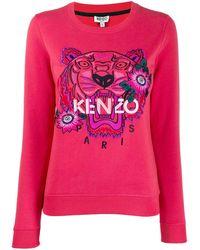 KENZO Толстовка Tiger С Цветочной Вышивкой - Розовый