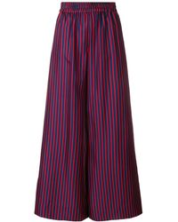 LaDoubleJ Striped Flared Trousers - Blauw