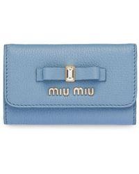 Miu Miu リボン キーケース - ブルー