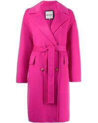 KENZO Wool Coat With Belt - Pink