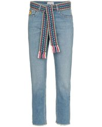 Mira Mikati - Woven Belt Cropped Slim Jeans - Lyst