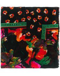 Diane von Furstenberg Floral Watercolour Scarf - Black